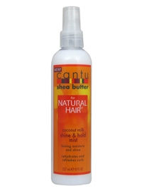 Cantu for Natural Hair Coconut Milk Shine & Hold Mist will rehydrate and refresh your curls leaving them frizz free and full of shine. Made with 100% Pure Shea Butter and formulated without chemicals or harsh ingredients, Cantu for Natural Hair restores y