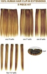 HH European Silky Straight Clip On Hair - 8 Piece Package - 12 inch length