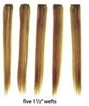 European Silky Straight Clip On Hair - 5 piece package (1 1/2 inch wefts) - 100% Human Hair - 12 Inch Length