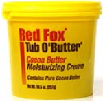 Red Fox Tub O' Butter Cocoa Butter Moisturizing Creme Net Wt. 10.5 Oz. (297 g)